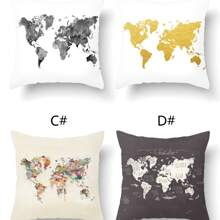 1pc Map Print Cushion Cover Without Filler