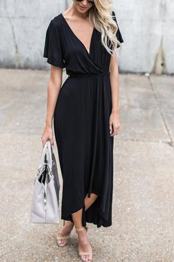 Yoins Black Self-tie Design V-neck Short Sleeves Maxi Dress