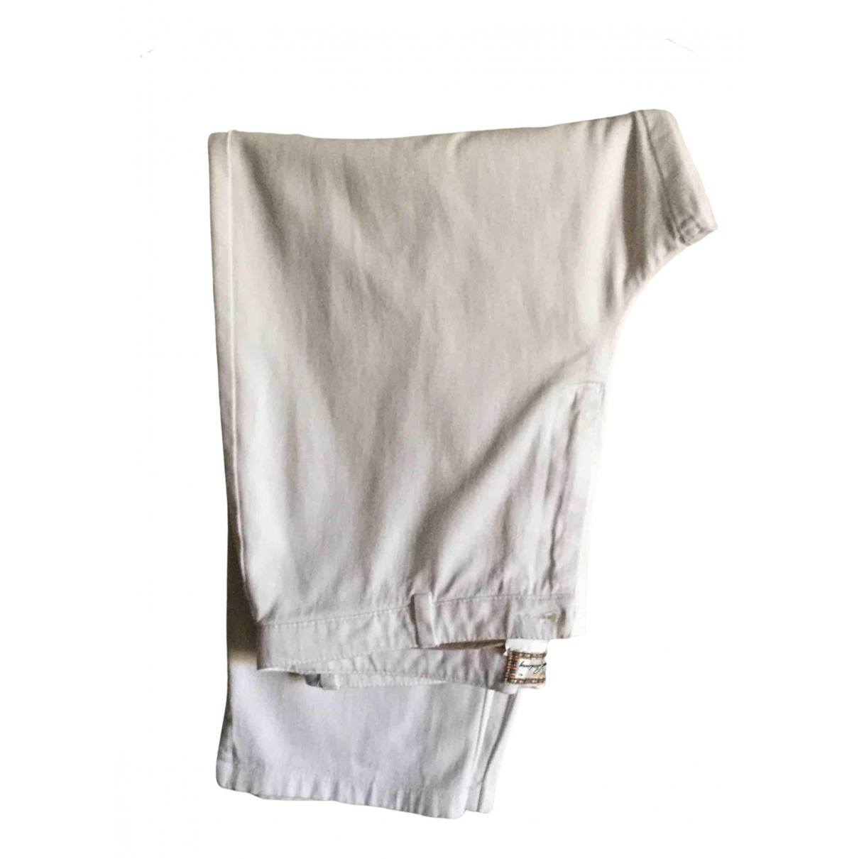 Burberry N White Cotton Trousers for Women 42 FR