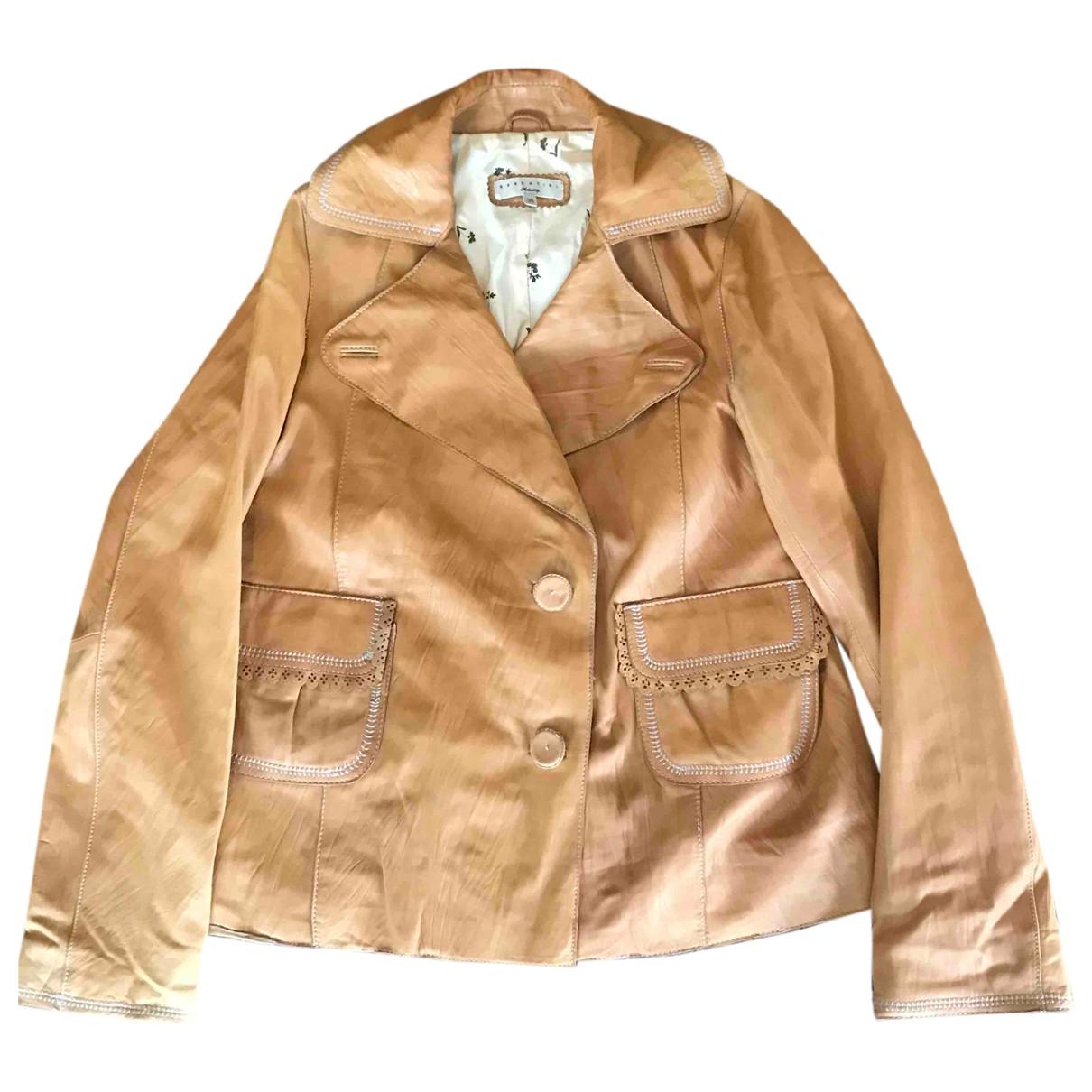 Essentiel Antwerp N Camel Leather jacket for Women 38 FR