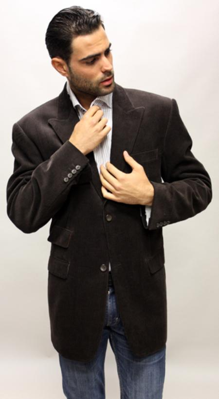 Brown Velvet Fabric Solid Sport Coat 2 Button with Back Vent