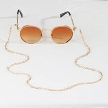 Maenner Sonnenbrille mit metallischem Rahmen & Kette