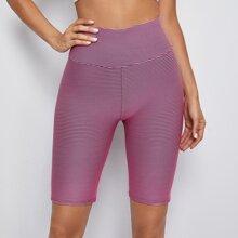 Striped Print Wide Band Waist Seamless Biker Shorts