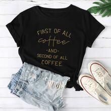T-Shirt mit Buchstaben Grafik kurzen Ärmeln