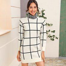 Funnel Neck Grid Sweater Dress