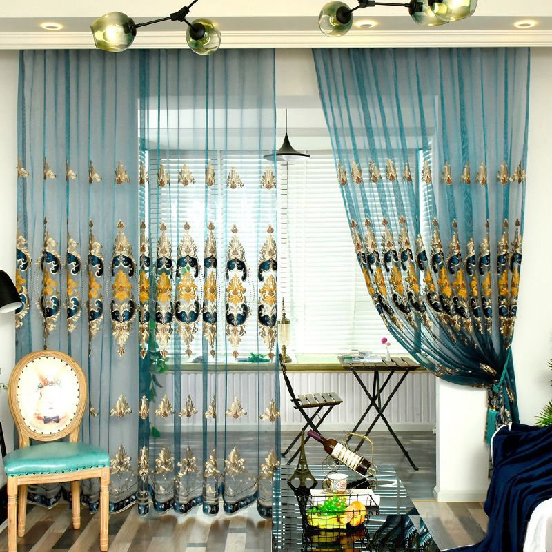 Classic and Noble Embroidered Lake Blue Living Room Custom Semi Sheer Curtain