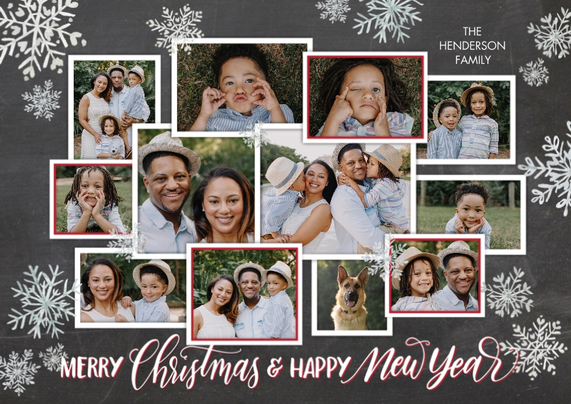 Christmas Photo Cards 5x7 Cards, Premium Cardstock 120lb with Scalloped Corners, Card & Stationery -Christmas New Year Collage by Tumbalina