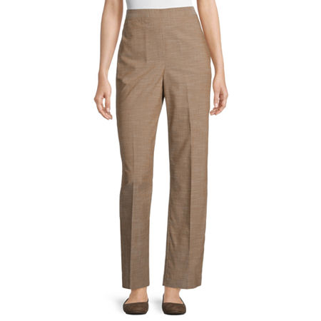 Alfred Dunner Womens Straight Flat Front Pant, 12 Short , Brown