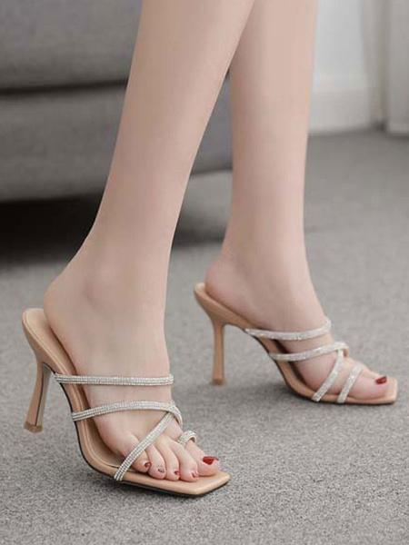 Milanoo Sandalias Zapatillas Sandalias negras con punta abierta Sandalias Sandalias Mujer Sandalias Zapatos