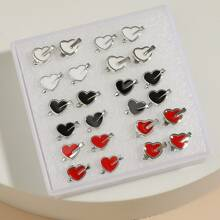 12 Paare Ohrstecker mit Herzen Design