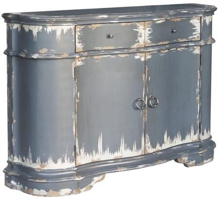P020246 Distressed Door Console Table with Brushed Nickel Hardware  Roller Side Drawer Guides and Two Drawers in