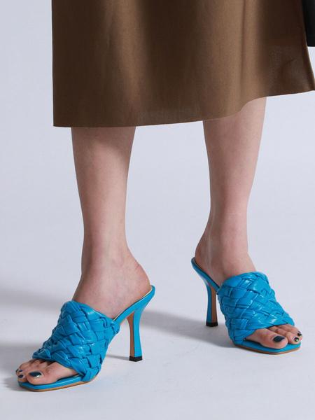 Milanoo Women\'s Sandals Woven Pattern PU Upper Peep Toe Slingbacks Stiletto Heel