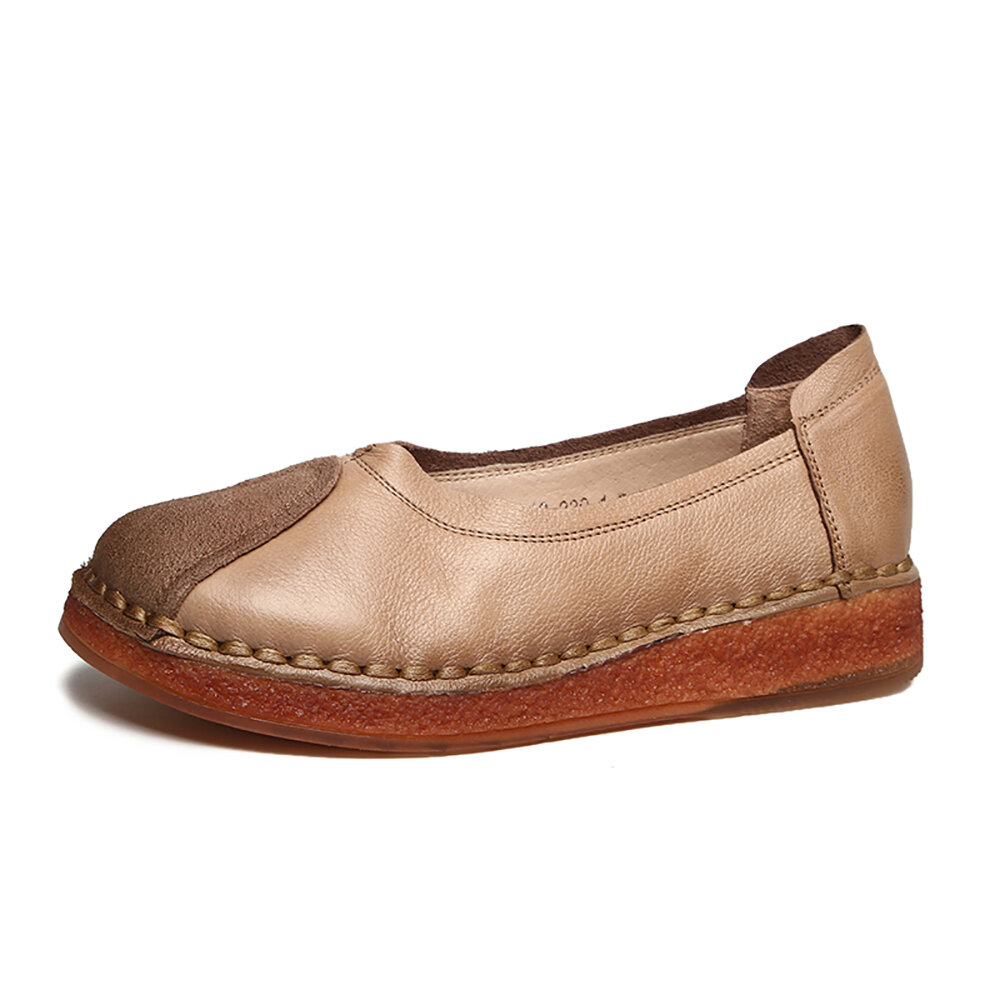 SOCOFY Solid Color Leather Stitching Comfy Slip-on Soft Sole Loafers Casual Flat Shoes