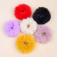6pcs Toddler Girls Plush Hair Tie