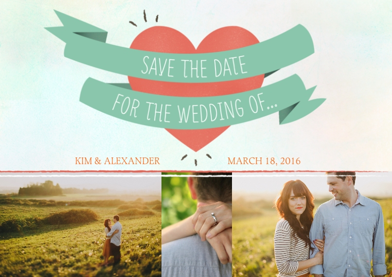 Save the Date 5x7 Cards, Premium Cardstock 120lb with Rounded Corners, Card & Stationery -Wrapped Heart Save the Date
