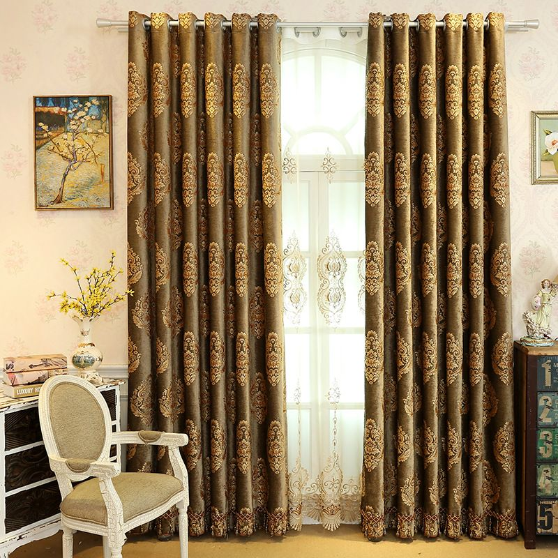 European Style Chenille Embroidery Black Out 2 Panels Curtain Prevents UV Ray Machine Wash Accepted Curtains