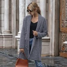 Mantel mit Karo Muster und Schal Kragen