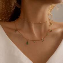 Mehrschichtige Halskette mit Strass