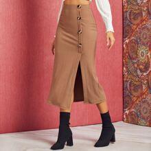 Solid Rib-Knit Button Detail Split Hem Skirt