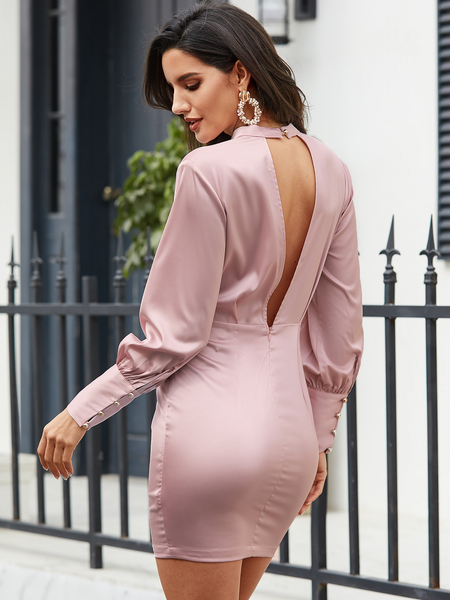 YOINS Pink Cut Out Ruched Round Neck Puff Sleeves Dress
