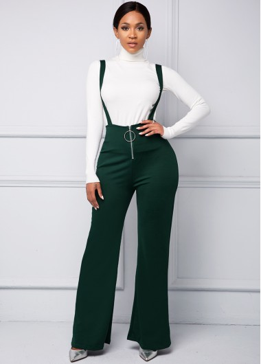 Ring Detail Spaghetti Strap Zip Front Jumpsuit - L