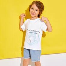 Camiseta de niñitos con estampado de slogan