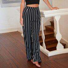 Pantalones de rayas de pierna ancha