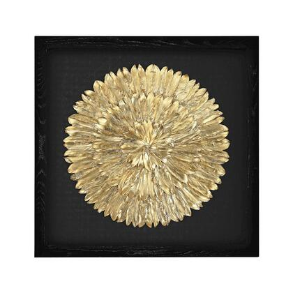 3168-019 Gold Feather Spiral  In Black
