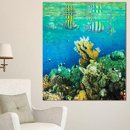 Designart Fantastic Red Sea Coral Fish Seashore Canvas Art Print, One Size , Red