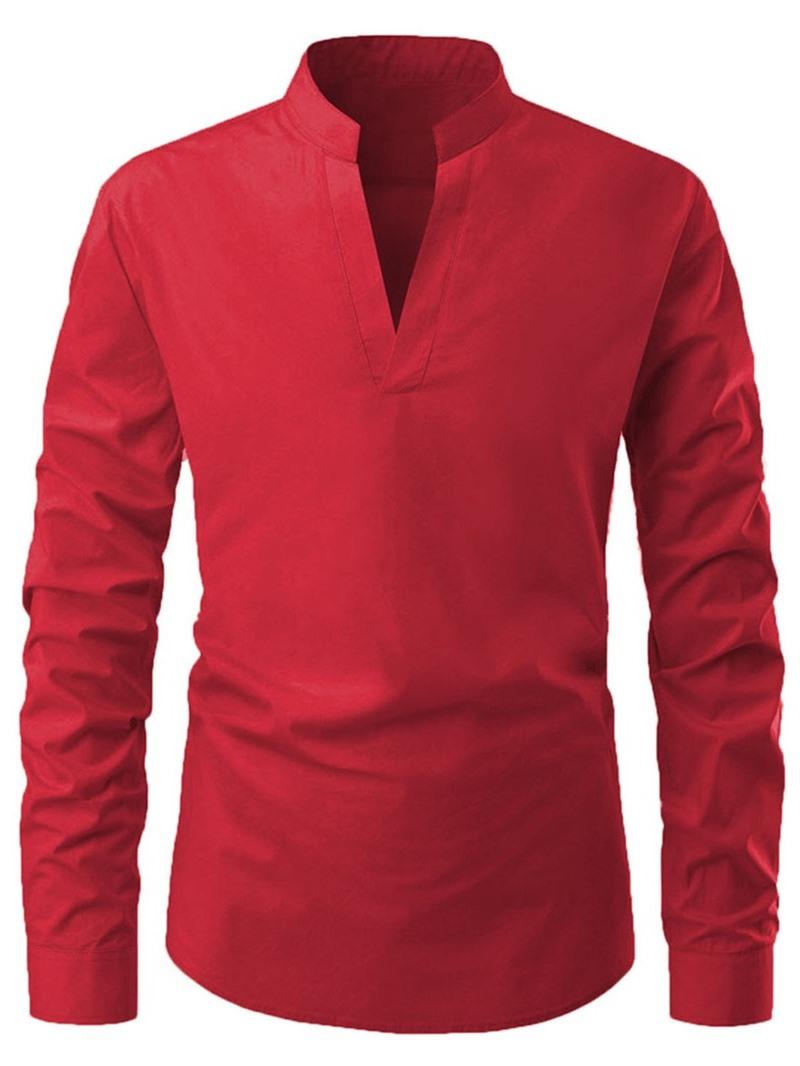 Ericdress Casual Plain V-Neck Mens Slim Shirt