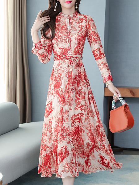 Milanoo Vestido largo rojo  con manga larga de chifon Vestidos con botones con estampado de flores en capas de cuello vuelto estilo informal