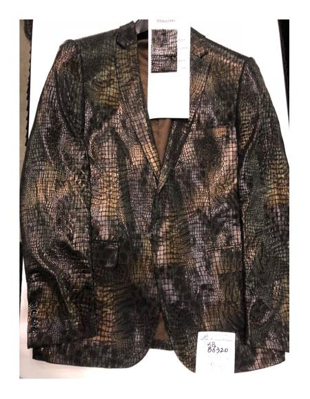 Mens Single Breasted Green ~ Tan One Button Blazer