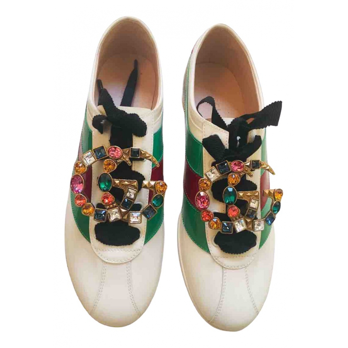 Gucci Falacer White Patent leather Trainers for Women 38.5 IT