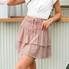 falda a capas con fruncido de cintura con cordon