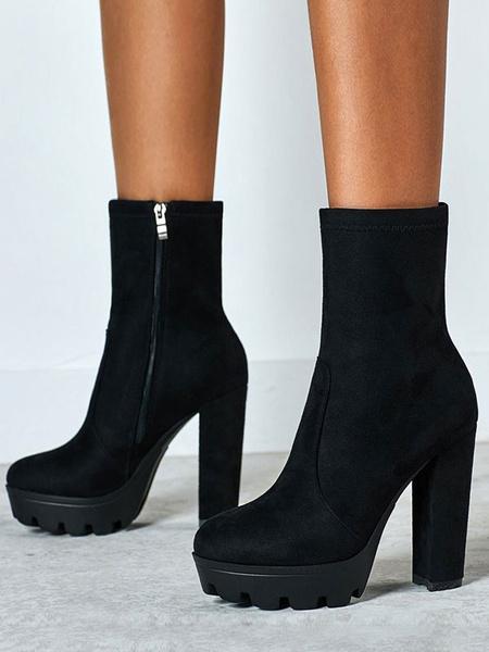Milanoo Women Ankle Boots Black Micro Suede Round Toe Chunky Heel High Heel Booties