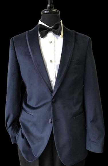 Mens 2 Buttons Black Trimmed Lapel Velvet Navy Blue Tuxedo