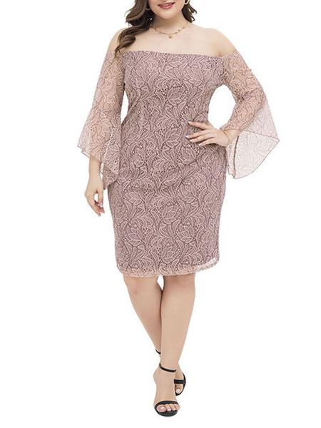 Milanoo Plus Size Dresses For Women Blush Pink Polyester Knee Length Short Sleeves Bateau Summer Dress
