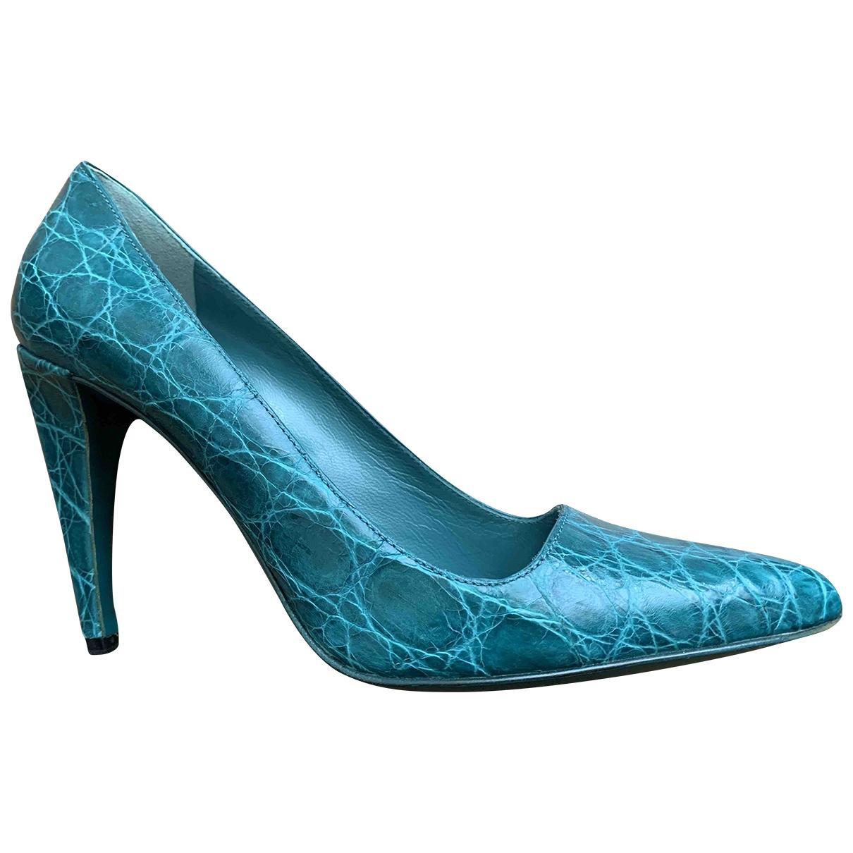 Prada - Escarpins   pour femme en crocodile - turquoise