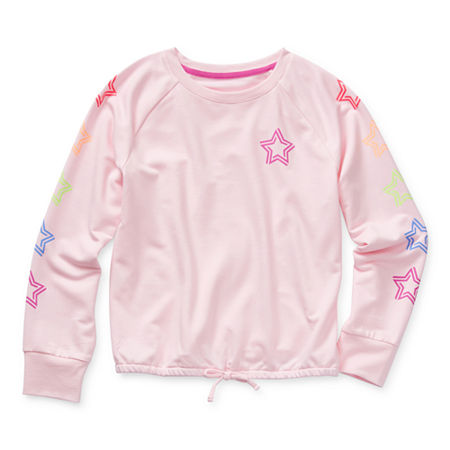 Xersion Little & Big Girls Crew Neck Long Sleeve Sweatshirt, Large (14) , Pink