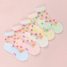 5 Paare Baby Socken mit Blumen Muster