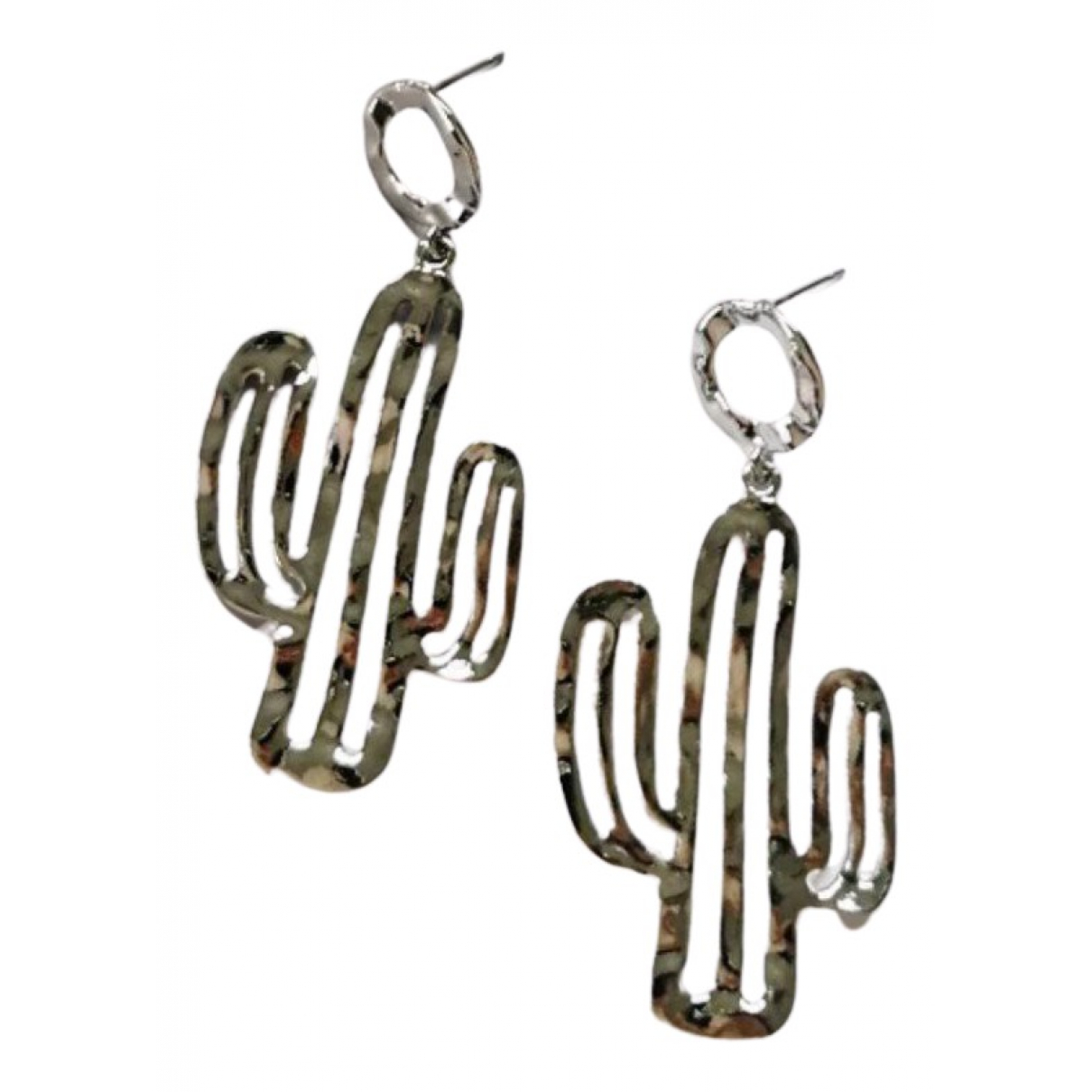 Non Signé / Unsigned Motifs Floraux Silver Metal Earrings for Women N