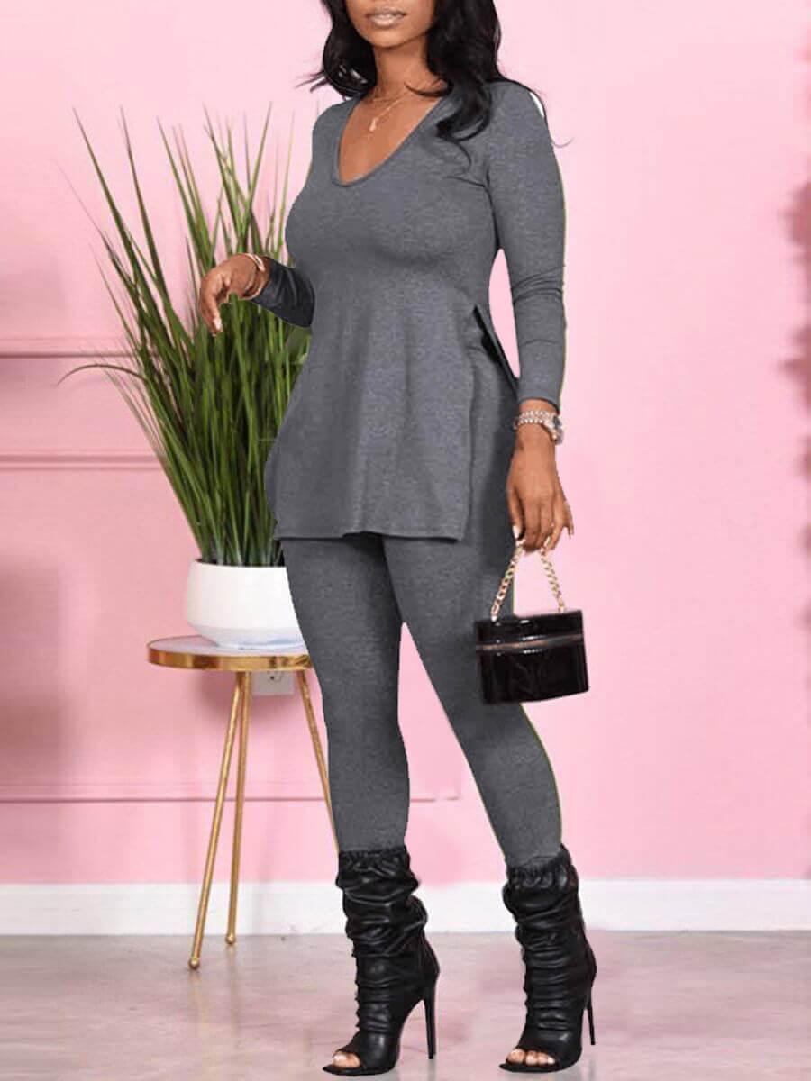 LW Lovely Casual V Neck Side Slit Grey Two Piece Pants Set