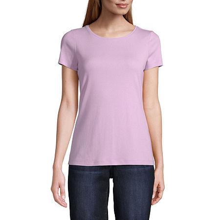 St. John's Bay-Womens Crew Neck Short Sleeve T-Shirt, Large , Purple