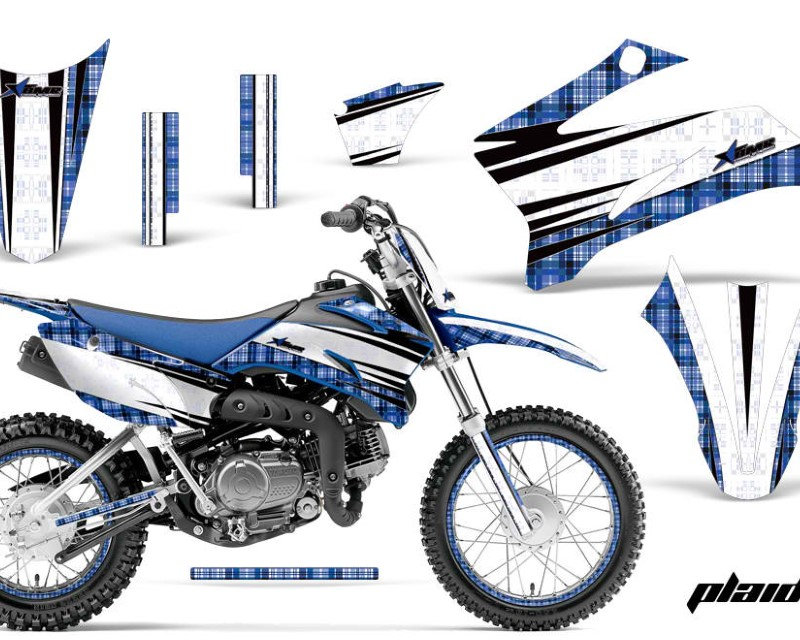 AMR Racing Graphics MX-NP-YAM-TTR110-08-18-PL U Kit Decal Sticker Wrap + # Plates For Yamaha TTR110 2008-2018áPLAID BLUE