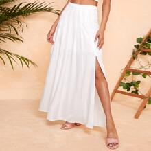 Fold Pleated Front High Split Skirt