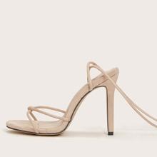 Tie Leg Stiletto Heeled Sandals