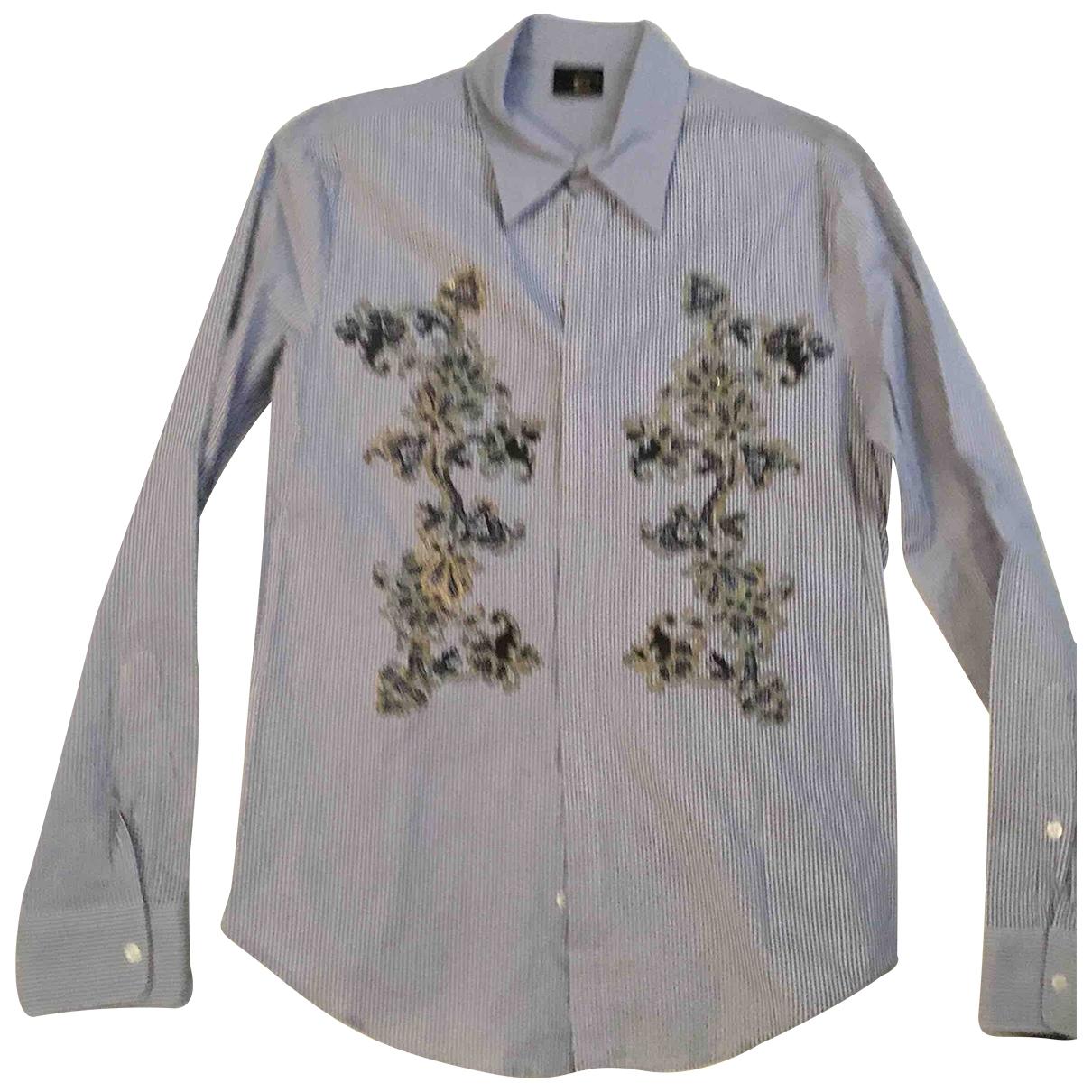 Just Cavalli - Chemises   pour homme en coton - bleu