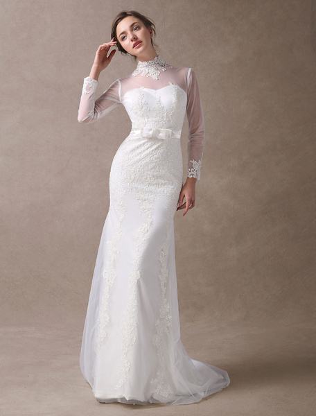 Milanoo Ivory Wedding Dresses Mermaid Lace High Collar Long Sleeve Illusion Sweetheart Neck Bow Sash Wedding Gowns With Train