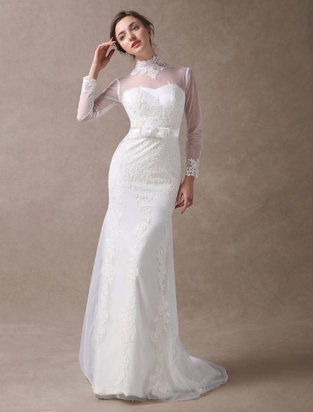 Milanoo Vestidos de novia de marfil de encaje de sirena de cuello alto manga larga ilusion cariño vestido de novia de lazo de cuello con el tren