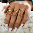 8Pcs Hollow Out Geometric Rhinestone Ring Set